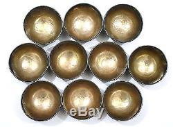 Set 10 19C Chinese Coconut Tea Bowl Cup Silver Lining Original Wood Box Label Mk