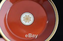 Set 10 Richard Ginori Visconte Red Terra Cotta Rust Gold Trim Tea Cups & Saucers