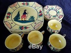 Set 4 HB HENRIOT QUIMPER FRANCE Yellow Soleil DINNER PLATES With 4 TEA CUP SAUCERS