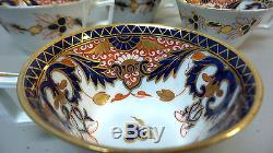 Set/4 Royal Crown Derby Porcelain Imari Kings Pattern Tea Cups