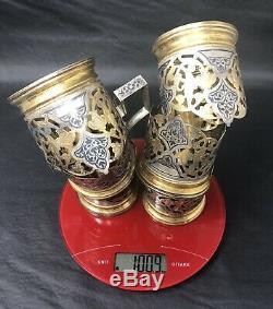 Set 6 Russian Solid Silver Gold Gilt Niello Enamel Tea Glass Holders