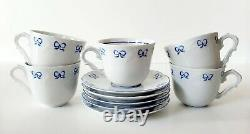 Set Of 10 Vista Alegre Ruban Blue Porcelain Coffee Tea Cups & Saucers Portugal