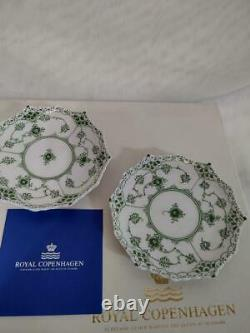 Set Of 2 Royal Copenhagen Green fluted full lace tea bowl Cup Saucer With Box