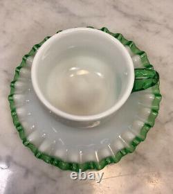 Set Of 2 Vintage FENTON Milk Glass Emerald Green Crest Tea Cups& Saucers Rare