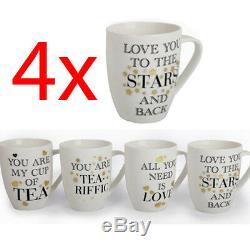 Set Of 4 11cm Gold Foil Mug Coffee Tea Drinking Fine China Kitchen Cup Quotes