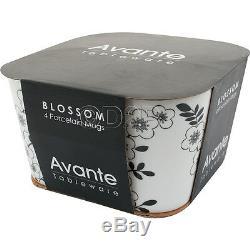 Set Of 4 Blossom Floral Design Porcelain Large Coffee Tea Soup Mugs Cups Gift