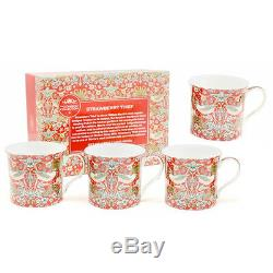 Set Of 4 Coffee Tea Mugs Cups Kitchen China Patterns Strawberry Gift Box New