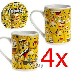 Set Of 4 Emoji Mug Stoneware Kitchen Drinking Coffee Tea Cup Design Novelty New