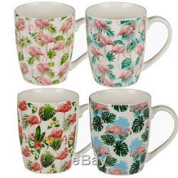 Set Of 4 Flamingo Coffee Tea Mug Drinking Kitchen Bone China Cup Gift Chocolate