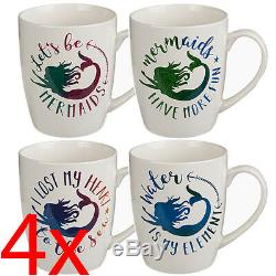 Set Of 4 Mermaid Coffee Tea Mug Drinking Kitchen Bone China Cup Gift Chocolate