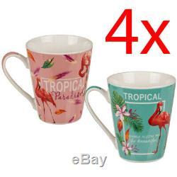 Set Of 4 Tropical Flamingo Coffee Tea Drinking Mug Cup Tea Bone China Kitchen