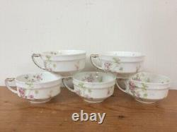 Set Of 7 Vtg Haviland Limoges Delicate Pink Rose Floral White Porcelain Tea Cups
