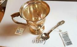 Set Vintage Sterling Silver 925 Tea Coffee Cup & Spoon Silverware Signed 181 gr