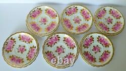 Set for 6 Royal Chelsea Pink Roses Tea Cups Saucers Dessert Plates Set