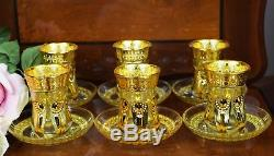 Set of 12 Gold Tea Coffee Cup & Saucer Set Arabian Turkish Style Islamic Gift