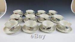 Set of 12 HAND PAINTED Signed Bird Cup & Saucers Porcelain Birds Tea Artist