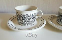 Set of 2 / KROKUS Tea Cups + Saucers ARABIA OF FINLAND
