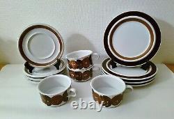 Set of 4 / ANEMONE ROSMARIN Tea Cup + Saucer + dessert plates ARABIA OF FINLAND
