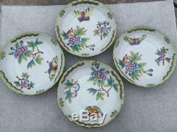 Set of 4 Canton Tea Cups & Saucer #1726 Herend Queen Victoria China VBO Teacup
