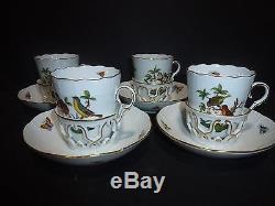 Set of 4 Herend (8 Pieces) Rothschild Bird Trembleuse Tea Cups/Saucers RARE