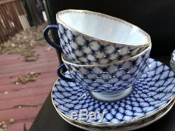 Set of 4 Imperial Porcelain Cobalt Net Tea cup Saucer Lomonosov LFZ 8.5 fl oz