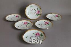 Set of 6 Antique Coffee Tea Cups Saucers Plates 1st Meissen Red Pink Rose 19thC