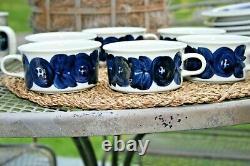 Set of 6 Arabia Of Finland ANEMONE BLUE Tea Cup Coffee Mug MCM Pottery