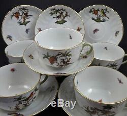 Set of 6 Herend Tea Cups & Saucers, Rothschild Bird, Antique