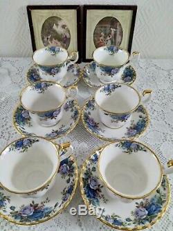 Set of 6 Royal Albert Moonlight Rose Tea cups and Saucers, England