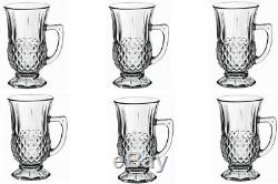 Set of 6 Tea COFFEE CAPPUCCINO LATTE cup CRYSTALGlass with Handle BY PASSA 150ML