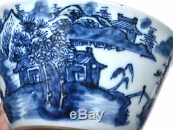 Set of 8 19th Centur Chinese Blue & White Porcelain Tea Bowl Cup Figure Figurine
