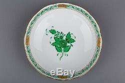 Set of Six Herend Chinese Bouquet Green Tea Cups with Saucers #704/AV