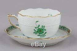 Set of Six Herend Chinese Bouquet Green Tea Cups with Saucers #724/AV