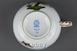 Set of Six Herend Rothschild Bird Tea Cups with Saucers #704/RO