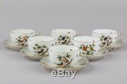 Set of Six Herend Rothschild Bird Tea Cups with Saucers #724/RO
