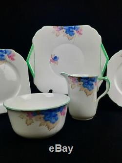 Shelley Art Deco Tea Set For 5 People / Cup And Saucer / Trio / Green / Floral