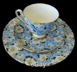 Shelley Blue Daisy Chintz Ripon Tea Cup Saucer Plate Trio Set Gold Rimmed RARE