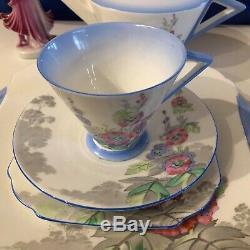 Shelley Eve Mode Vogue Teapot Teacup Tea Set Hollyhocks