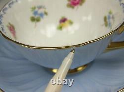 Shelley Oleander Roses Pansies Forget-me-nots Footed Tea Cup & Saucer Set