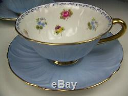 Shelley Oleander Roses Pansies Forget-me-nots Footed Tea Cup & Saucer Set (b)
