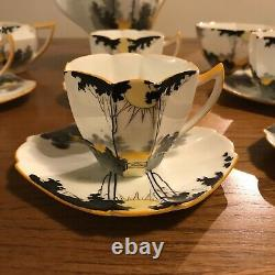 Shelley Queen Anne Sunset/Sunrise and Tall Trees Coffee Pot Set Art Deco Tea Cup