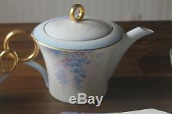 Shelley Tea Set 24 pc Wisteria Cup Saucer Pot teacup teapot trio Art Deco blue