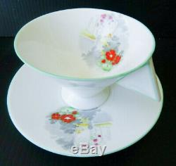 Shelley Vogue Shape Teacup and Saucer Set Vintage Art Deco Rare England Tea Cup