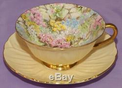 Shelley Wide Mouth Oleander Rock Garden Chintz Tea Cup & Teacup And Saucer Set