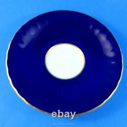 Signed D. Jones Cobalt Blue with Fruit Center Aynsley Tea Cup and Saucer Set