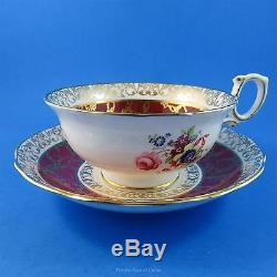 Signed Deep Red & Gold Border & Floral Hammersley Tea Cup and Saucer Set
