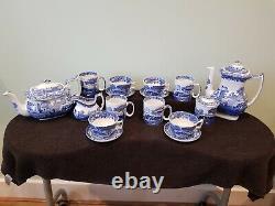Spode Blue Italian Tea Coffee Sugar Set With 4 Coffee cup 4 tea cups and saucers