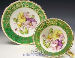 Stanley Pansies Pattern Tea Cup And Saucer Set Gold Gilt Signed Robinson