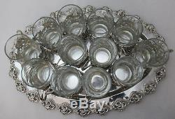 Sterling Silver 925 Tray With 12 Set Of Tea Cups Very Elegant Deatils 1964 Gram
