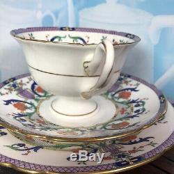 Stunning Antique Art Deco Nouveau Shelley Purple Tea Cup Saucer Plate Trio Set